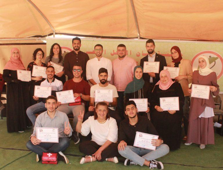 مؤسسة لجان العمل الصحي ومركز بيسان يخرّجان 14 مسعفاً/مسعفة أولي