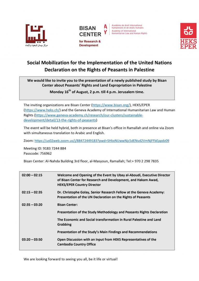 Social Mobilization for the Implementation of the United Nations Declaration on the Rights of Peasants in Palestine